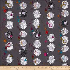 Kanvas Knitty Sheep Gray from @fabricdotcom Designed by Greta Lynn for Kanvas, in association with Benartex, this cotton print fabric is perfect for quilting, apparel, crafts, and home decor items. Colors include white, black, pink, grey, teal, olive, plum, and orange.