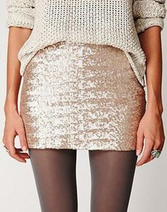 tight sparkly skirt with a loose christmas sweater and some tights ;) loving it
