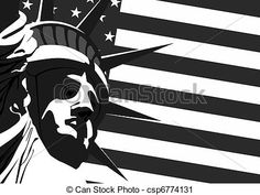 Vector Clip Art of Statue of Liberty and US flag - Fragment of ...