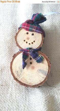 ON SALE Log Slice Wooden Snowman Ornament by UppaCreekFarm on Etsy