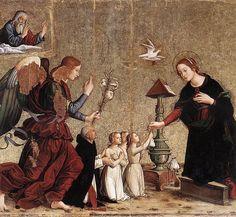 Antoniazzo Romano, Annunciazione con il cardinale Torquemada che presenta delle fanciulle povere a Maria, 1500, Basilica di Santa Maria sopra Minerva, Roma.
