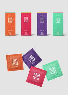 These condom packaging wrappers by The Woork Co for Confortex purposefully look like candy wrappers. Clever Packaging, Candy Packaging, Chocolate Packaging, Packaging Design, Branding Design, Packaging Ideas, Lauren Hom, Bar Wrappers, Candy Wrappers