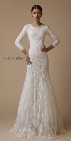 Fashion Designer Tali Shurin grew up in Jerusalem. Muslim Wedding Gown, Modest Wedding Gowns, White Wedding Gowns, Dream Wedding Dresses, Bridal Dresses, Modest Dresses, Pretty Dresses, Beautiful Dresses, Long Sleeve Wedding