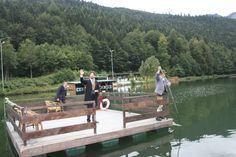 Geburtstagsfeier von König Ludwig II. am Riessersee - Ankunft des Königs mit dem Floß über den See