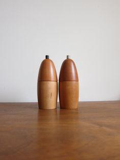 Danish Salt and Pepper Mills with Peugeot Mechanisms on Etsy, $95.00