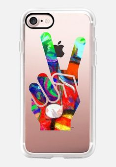 Casetify iPhone 7 Classic Grip Case - Peace Hippy Paint 1 by Edward Fielding #Casetify
