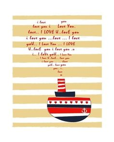 A Love Letter Print / Submarine / Navy / Red by dekanimal on Etsy