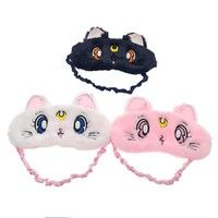 Cute Anime Sailor Moon Luna Shaped Sleeping Eye Mask Cover Eye Patch Eyeshade for Casual Travel Con