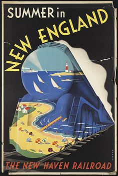 Vintage poster promoting railroad travel: 'Summer in New England'