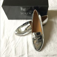 J. Crew Silver Loafer Classic J Crew Silver Loafer. Worn a few times only. Comes with box. Great condition! J. Crew Shoes