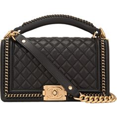 d3bc1d49121e Pre-Owned Chanel Black Quilted Calfskin Medium Boy Bag with Handle ( 7