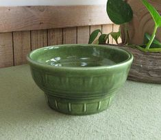 Greenery Haeger Pottery Vintage Planters and Pots Small Round