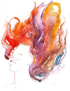 Cate Parr. Watercolour Fashion Illustration Print - Wind II Wind blown fiery hair