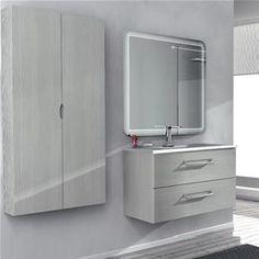 Mobile Moderno per Arredo Bagno Dallas 100cm, Specchio Illuminato ...