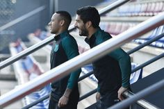 Neymar of Barcelona and Luis Suarez of Barcelona look on during the FC Barcelona training session at Ciutat Esportiva Joan Gamper on October 18, 2016 in Barcelona, Catalonia.