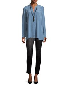 Ponte Leather-Blocked Leggings and Matching Items by Eileen Fisher at Neiman Marcus.