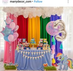 My Little Pony Birthday Party Dessert Table and Decor My Little Pony Party, Cumple My Little Pony, Little Pony Cake, Rainbow Dash Party, Rainbow Dash Birthday, Birthday Party Desserts, Trolls Birthday Party, Birthday Party Decorations, Birthday Parties