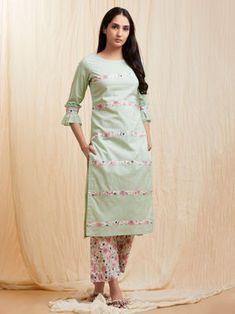 Mint Green Pink Cotton Kurta with Pants - Set of 2 Simple Kurti Designs, Kurta Designs Women, Kurti Neck Designs, Dress Neck Designs, Salwar Designs, Blouse Designs, Kurti Sleeves Design, Sleeves Designs For Dresses, Kurta With Pants