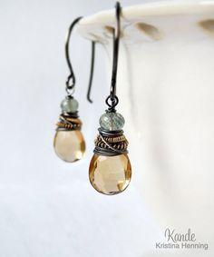 Champagne Citrine Earrings Gemstone Drop Sterling Silver by Kande