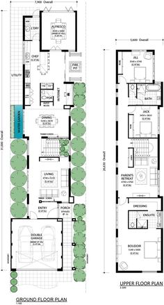Langhus - Residential Attitudes (Shortened version)remove parents retreat and dining area Narrow Lot House Plans, New House Plans, Dream House Plans, Modern House Plans, Modern House Design, Duplex Floor Plans, Home Design Floor Plans, House Floor Plans, Long House