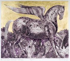 Sarah Young, Pegasus, collograph