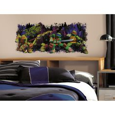 Turtle Trouble, bring the action of the Turtles into any room with this giant Teenage Mutant Ninja Turtles wall decal. This huge wall graphic of Leo, Raph, Mikey, and Don is the perfect way to dress up the wall of any TMNT fan. Overstock.com $21.99