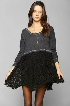 1be89fe33a Kimchi Blue French Terry Lace-Mix Dress  urbanoutfitters Urban Dresses