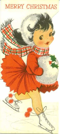 This reminds me of my mom Gayle Girl Ice Skater - Vintage Christmas Card