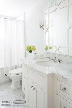 Worlds Away Vero Mirror - Chanel Home Small White Bathrooms, White Master Bathroom, Small Space Bathroom, Beautiful Bathrooms, White Bathroom Cabinets, Gray And White Bathroom Ideas, Master Bathroom Designs, Small Master Bath, Modern White Bathroom