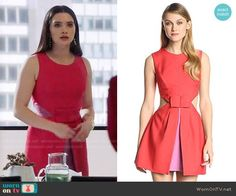 Jane's red dress with pink panels on The Bold Type.  Outfit Details: https://wornontv.net/73883/ #TheBoldType