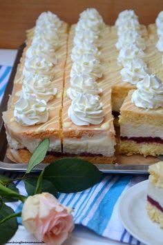 Wuzetka chałwowo-malinowa Sweets Cake, Cookie Desserts, Sweet Recipes, Cake Recipes, Polish Recipes, Food Cakes, Piece Of Cakes, Cake Cookies, Baked Goods