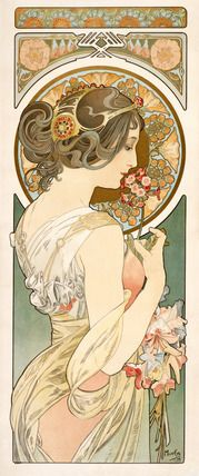 Design for an emblematical female figure holding a bunch of flowers, by Alphonse Mucha (1860-1939). Lithograph. France, late 19th century.