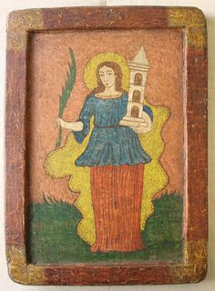 "Retablo ""Santa Bárbara"" Colonial venezolano Edo. Lara, Finales siglo XVIII: Óleo sobre tabla. Medidas: 30X21,5 cms."