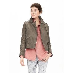 Banana Republic Womens Heritage Gray Leather Moto Jacket ($448) ❤ liked on Polyvore featuring outerwear, jackets, grey, grey leather jacket, genuine leather jacket, leather motorcycle jacket, asymmetrical zip jacket and leather jacket
