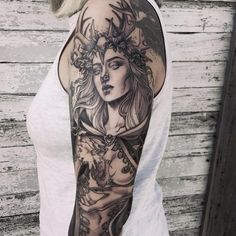 Finished today for Regis. To those still waiting for a reply from my booking email last week, I appreciate your… Tattoos 3d, Unique Tattoos, Beautiful Tattoos, Body Art Tattoos, Sleeve Tattoos, Cool Tattoos, Artemis Tattoo, Athena Tattoo, Greek Goddess Tattoo