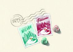 Tribute to MIlano / Tribute to Palermo by Nespresso  #coffe #illustration #stamp #Italy #Milano #Palermo