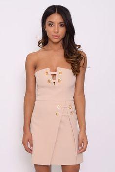 New Rare London Nude Lace Up Mini Dress All Sizes