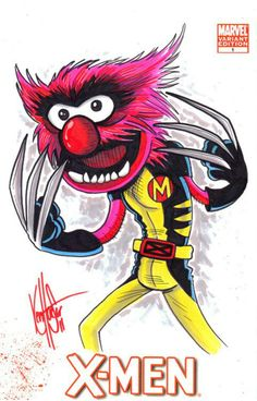 Cartoonist Ken Haeser shows us what happens when you cross X-Men with The Muppets.Mutant X-Muppets! X Men, Digimon, Wolverine Animal, Comic Art, Comic Books, Fraggle Rock, Cartoon Crossovers, Jim Henson, Anime Animals