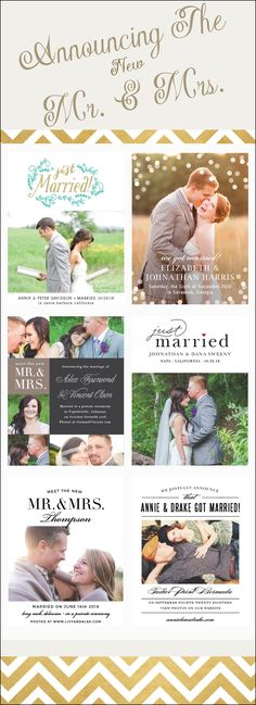Let the world know you got married with completely customizable wedding announcements.  Match you colors and style for free!