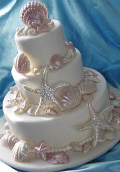 Hawaii Wedding Cake - Wedding Cake in Hawaii - Maui Wedding Cakes Starfish Wedding Cake, Hawaii Wedding Cake, Seashell Cake, Starfish Cake, Wedding Cake Decorations, Cool Wedding Cakes, Wedding Cake Toppers, Beach Themed Wedding Cakes, Cupcake Wedding