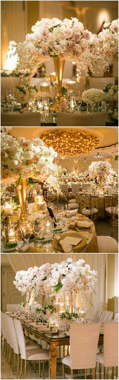 Black tie wedding, formal indoor wedding reception, tall white and pastel pink floral centerpieces, roses, gold vases, elegant table design // Samuel Lippke Studios