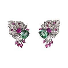 """CARTIER. """"Disa"""" Earrings - white gold, star rubies, tourmalines, save by Antonella B. Rossi"""