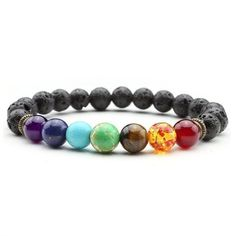 Positive Energy Healing 7 Chakra Lava Stone Bracelet *FLASH SALE* | Positive Energy, Peace of Mind, Balance, Healing, Meditation, Protection from Evil Eye or Black Magic, Removes Negative Energy