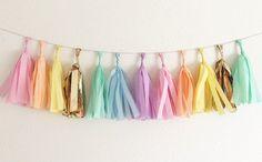 Pastel Rainbow Tissue Tassel Garland Unicorn by OhhHowCharming