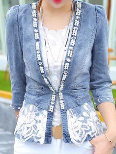Ericdress Slim Bead Denim Jacket Denim Outerwear
