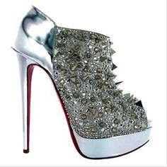 Christian Louboutin Bridgets Back Spiked Ankle Boots Silver,Color:Silver,Christian Louboutin Ankle Boots,Christian Louboutin Shoes,Christian Louboutin Replicas Platform Ankle Boots, Shoe Boots, Women's Shoes, Shoe Shoe, Top Shoes, Platform Pumps, Heeled Boots, Lady Gaga, Cute Shoes