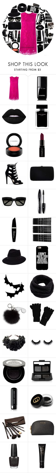 """""""Pink n' black"""" by fangirl-preferences ❤ liked on Polyvore featuring Dolce&Gabbana, Chanel, Lime Crime, Narciso Rodriguez, MAC Cosmetics, Smashbox, Sergio Rossi, Yves Saint Laurent, Lancôme and Max Factor"""