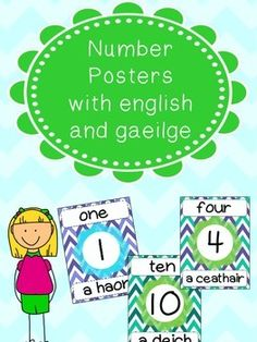 Number posters displaying the number and the number word in both english and irish. The font used doesn't have accents so fadas will need to be added after printing. Enjoy and please rate :) Irish Language, Poster Display, Number Words, Summer School, Literacy, Number Posters, Numbers, English, Comics
