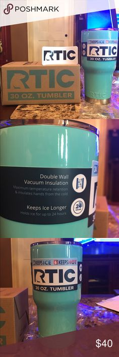 Rtic 30 oz. Turquoise Rtic 30 oz. tumbler. Brand new with box and sticker. If you would like a Hot Pink or Camo one i can definitely get you one. If you would like a handle or spill proof lid please let me know. Will always consider offers. Other