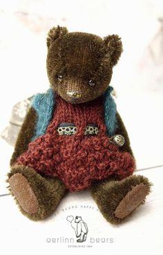Cookie  Miniature Dark Brown Mohair Artist Teddy by aerlinnbears